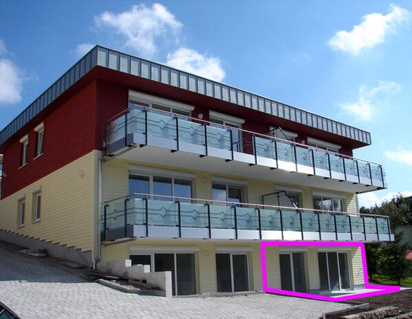 Außenansicht für Wohnung Nr. 6 mit Terrasse